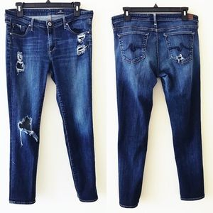 AG The Stilt Cigarette Distressed Jeans